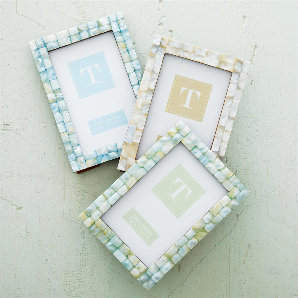 Mother of Pearl Tiles Photo Frame- 4 x 6 size in 3 colors