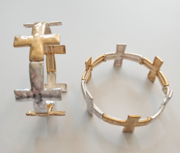 Two-Tone Antique Cross Bracelet