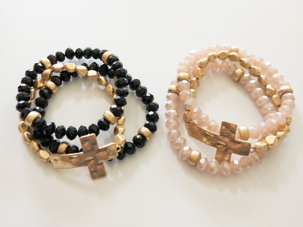 Beaded Cross Stack Bracelets- 2 Colors