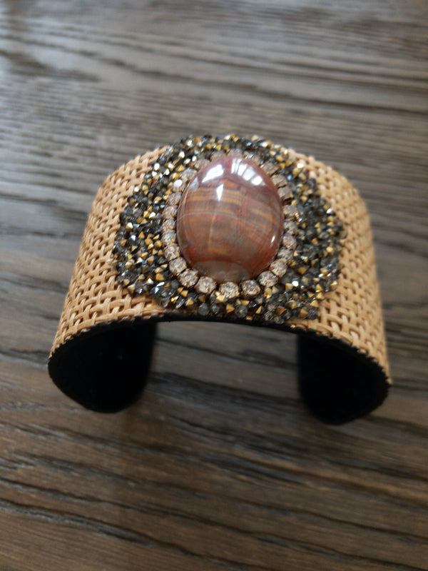Oval Stone and Wedge Cuff Bracelet