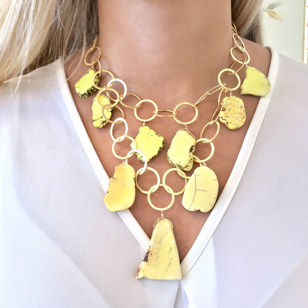 ASPEN NECKLACE, YELLOW HOWLITE, GOLD NECKLACE