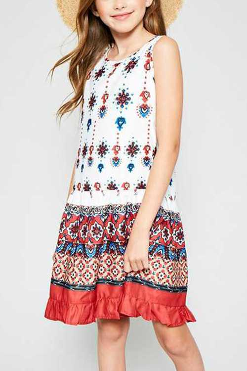 Ruffle Border Print Tank Dress