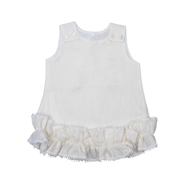 Linen Eggshell Pom Pom Dress 12-18 month - Kids- with Monogram - Bubbles Gift Shoppe