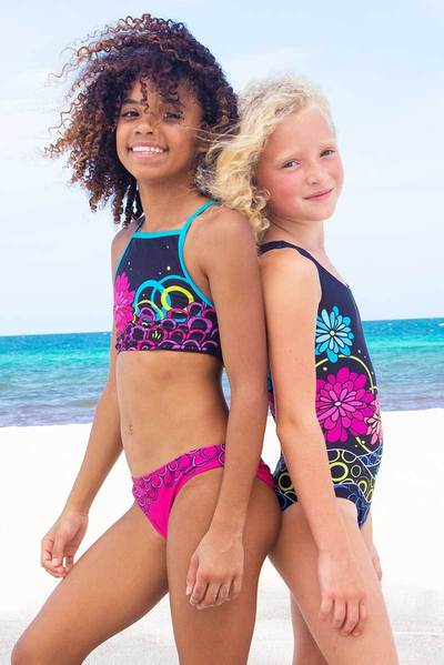 Swim Scalloped Cropped Tankini Floral Set