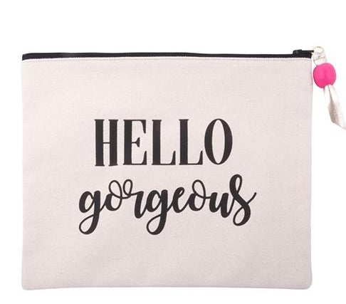 Durable Canvas Sayings Cosmetic Pouch
