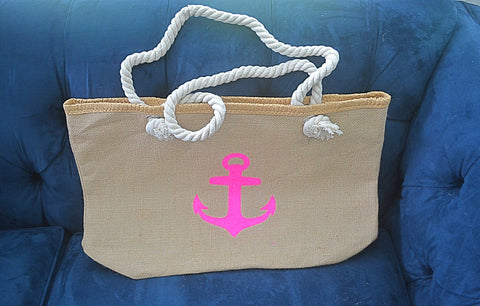 Summer Sale Burlap Anchor Shoulder Bag with Rope Strap- 3 left - Bubbles Gift Shoppe