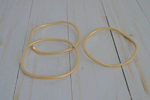 Bangle Wavy Bracelets Matte Gold or Matte Silver Set of 3 - Bubbles Gift Shoppe
