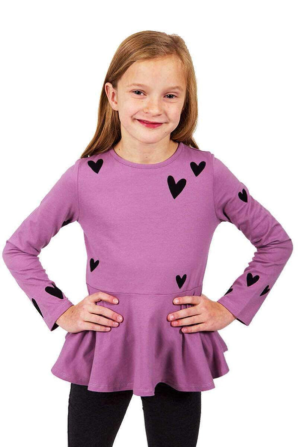 Purple Heart Peplum Long Sleeve Top