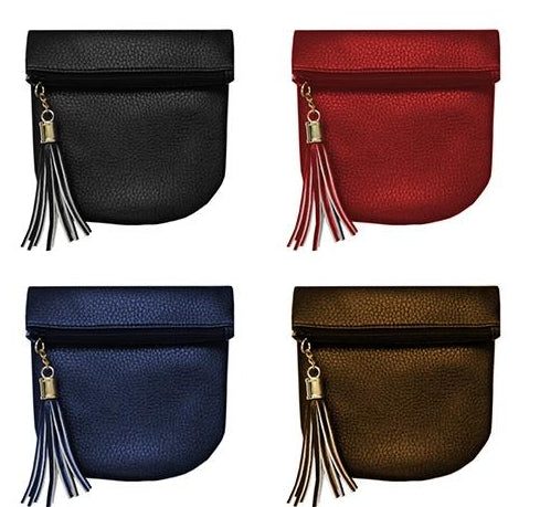 Clutch with tassel in 4 colors