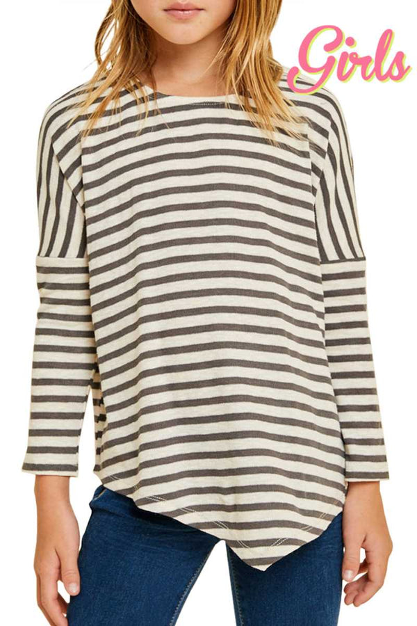 Striped Drop Shoulder Long Sleeve Top