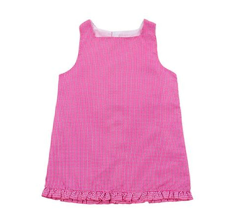 Pink Gingham Toddler Dress with Monogram
