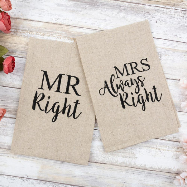 Mr. & Mrs. Right Guest Towel Set