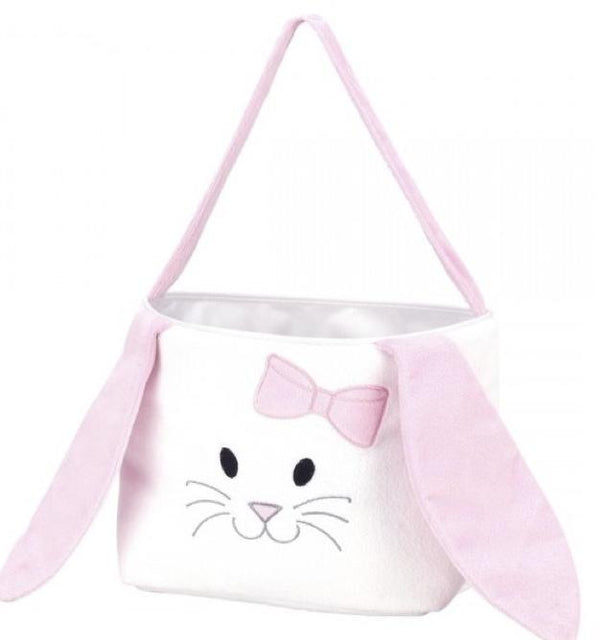 Hippity Hoppity Easter Basket in Pink or Blue - Kids, Bags and with Monogram - Bubbles Gift Shoppe
