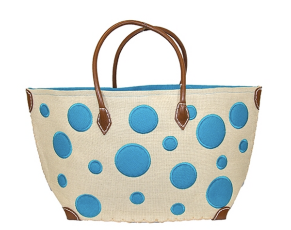Springtime Color Bubbles Straw Tote Bag- Monogram included - Bubbles Gift Shoppe