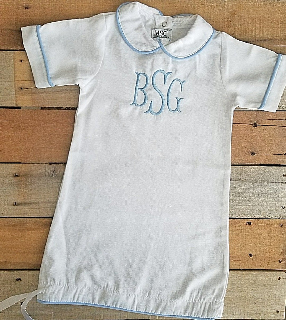 Beautiful Blue Piping Day Gown - Kids & Baby- with Monogram - Bubbles Gift Shoppe