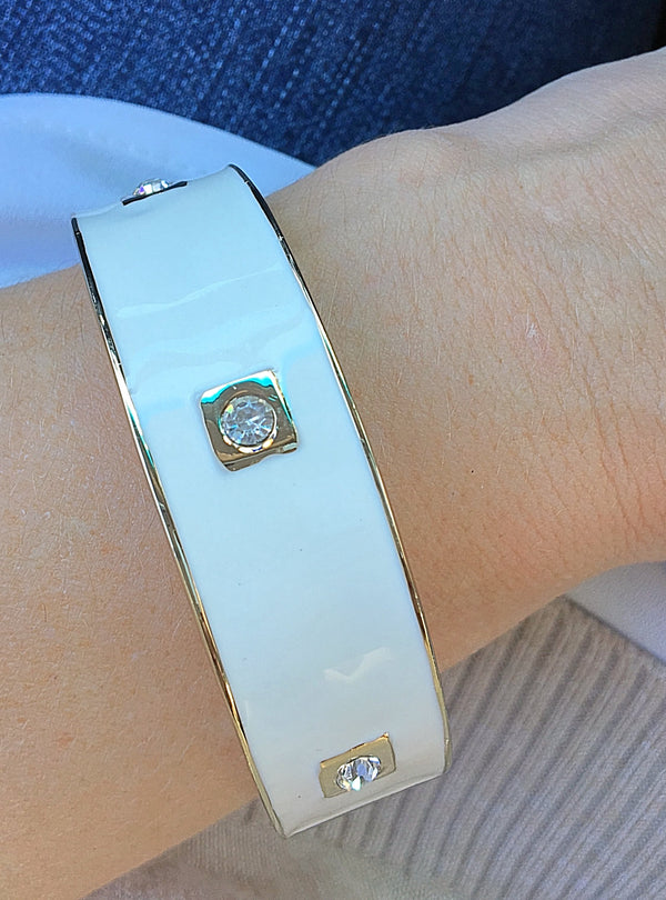 Enamel White and Gold Bracelet - Bubbles Gift Shoppe
