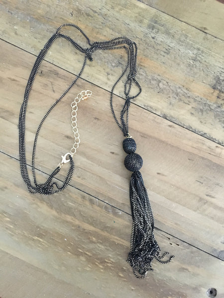Chain Tassel and Bead Necklace - 2 colors - Bubbles Gift Shoppe