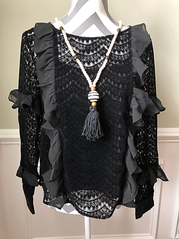 Onyx Lace Sleeve Ladies Top