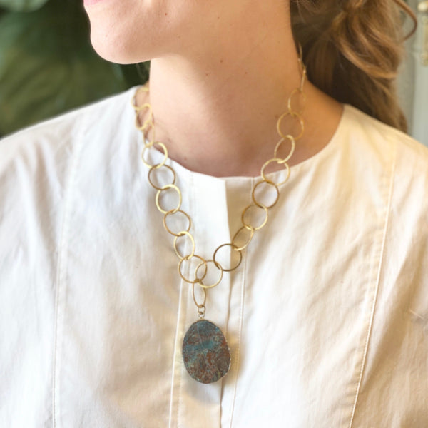 LESLIE NECKLACE, TURQUOISE JASPER AND GOLD NECKLACE