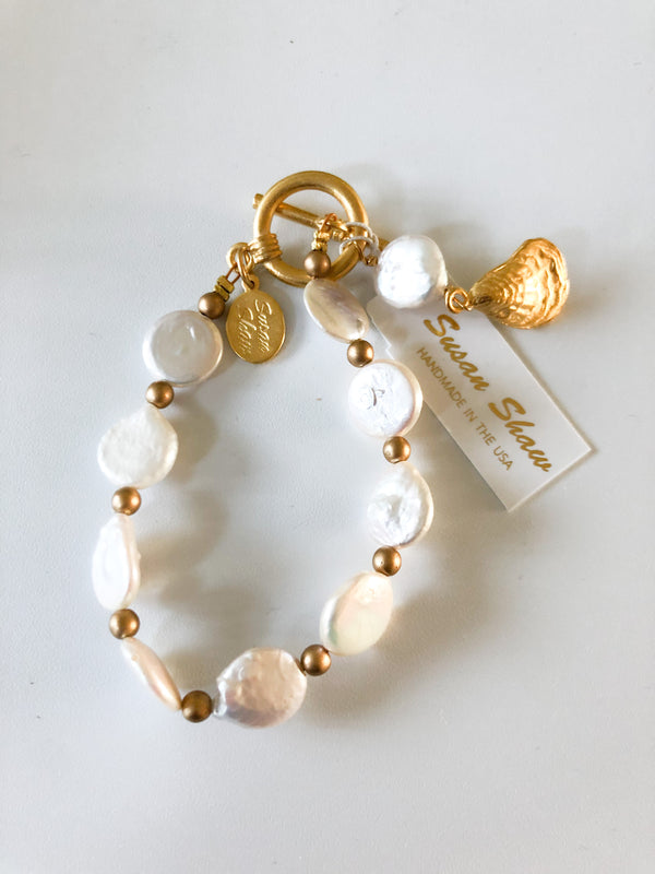 Susan Shaw Oyster Freshwater Pearl Tennis Bracelet with Toggle Clasp, Gold Plated 8""