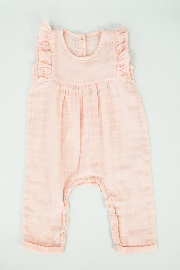 Blush Organic Muslin Romper with Ruffles