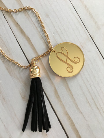 Gold Acrylic Tassel Necklace- Monogram - Bubbles Gift Shoppe