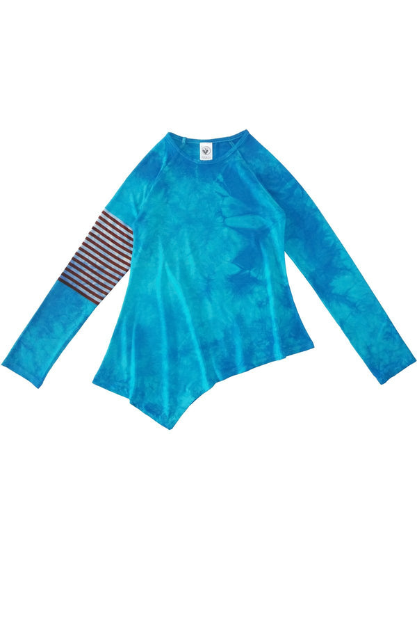 Blue Tie Dye Asymmetrical Long Sleeve Top