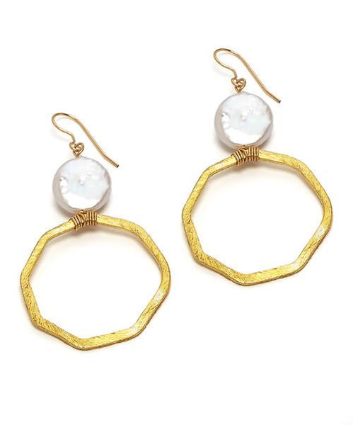 LEVY WHITE COIN FRESHWATER PEARL EARRINGS - Bubbles Gift Shoppe