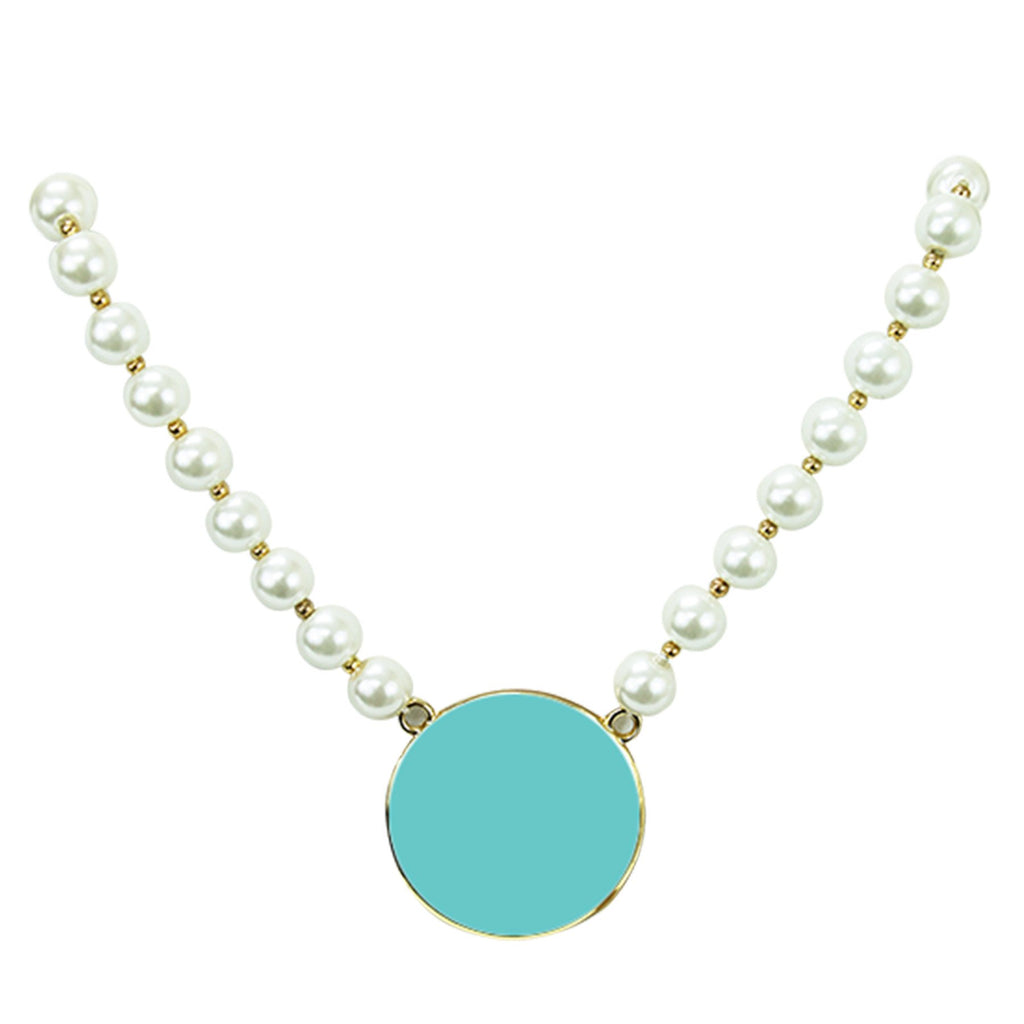 Pearl Necklace with Gold Rim in Many Colors- Monogram - Bubbles Gift Shoppe