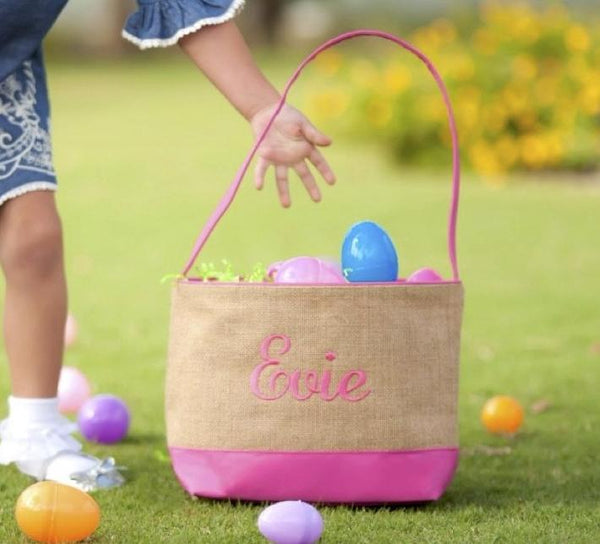 Burlap Easter Basket in Pink or Blue - Kids, Bags with Monogram - Bubbles Gift Shoppe
