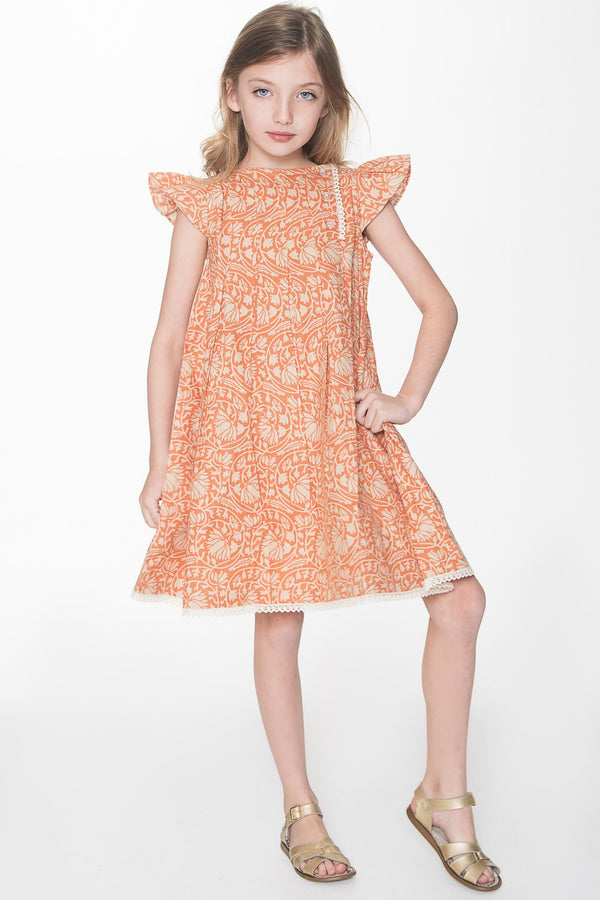 Vintage Peach Box Pleat Lace Detail Dress