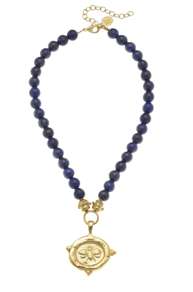 GOLD BEE  STONE NECKLACE Blue Lapis