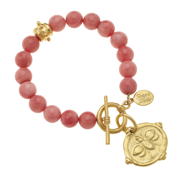 GOLD BEE INTAGLIO STONE BRACELET Pink Coral