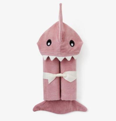 MAUVE BABY SHARK HOODED BATH WRAP