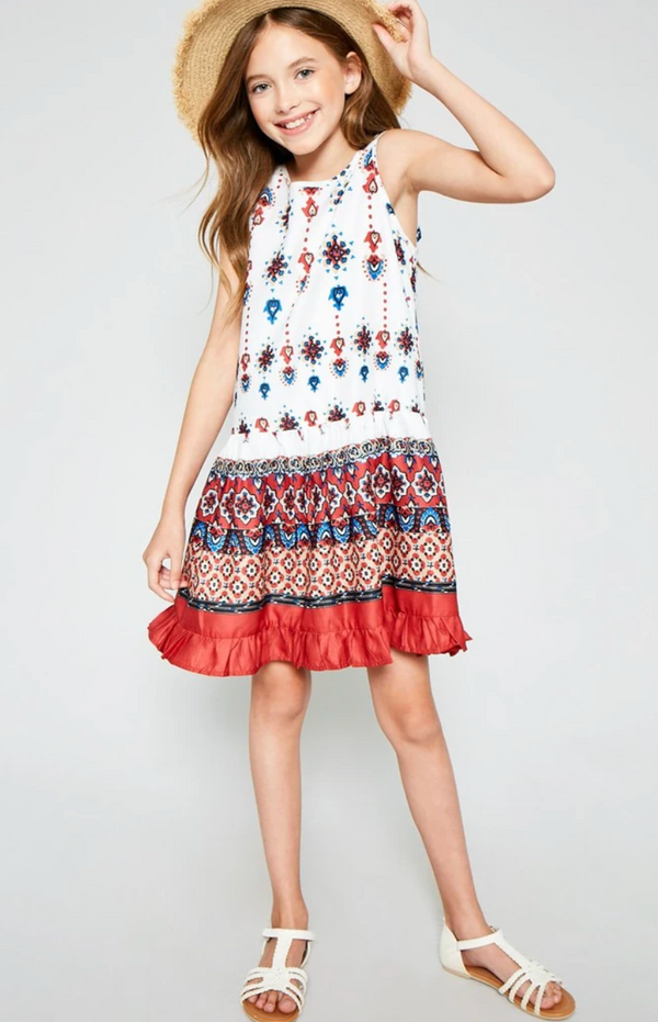 Ruffle Border Print Mini Tank Dress