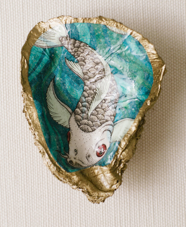 Grit and Grace Decoupage Oyster Ring Dish
