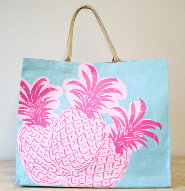 Pineapple Carryall Tote in Aruba Blue