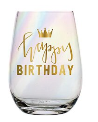 Gold Lettering Happy Birthday Stemless