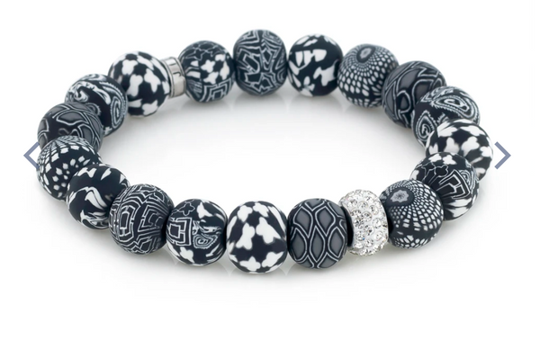 Black White Crystal Stretch Bracelet