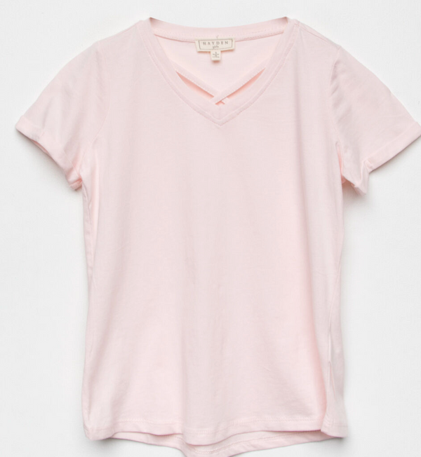 V-Neck Criss-Cross Tee, Pink
