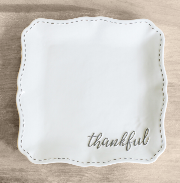 White Thankful Platter