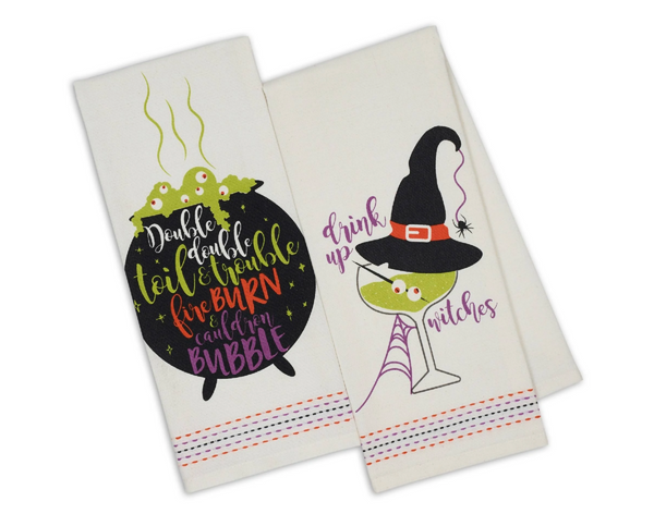 Set of 2 Halloween Dishtowels, 2 Styles
