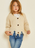 GIRLS CREAM DISTRESSED HEM SWEATER