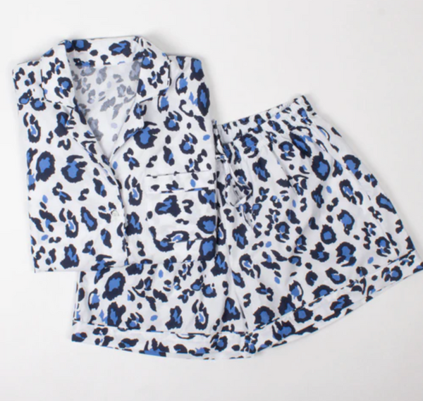 PJ Set - Blue Leopard