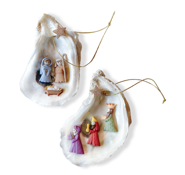 Handmade Oyster Nativity or Three Kings Ornament
