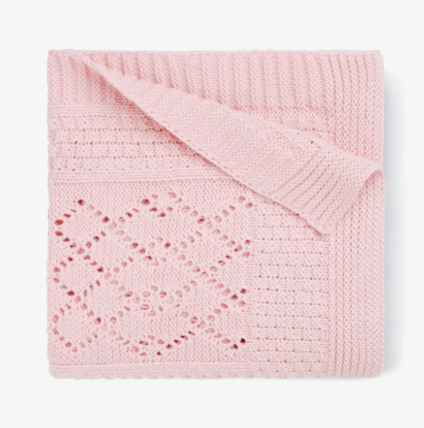 PINK OR GRAY SEED KNIT COTTON BABY BLANKET