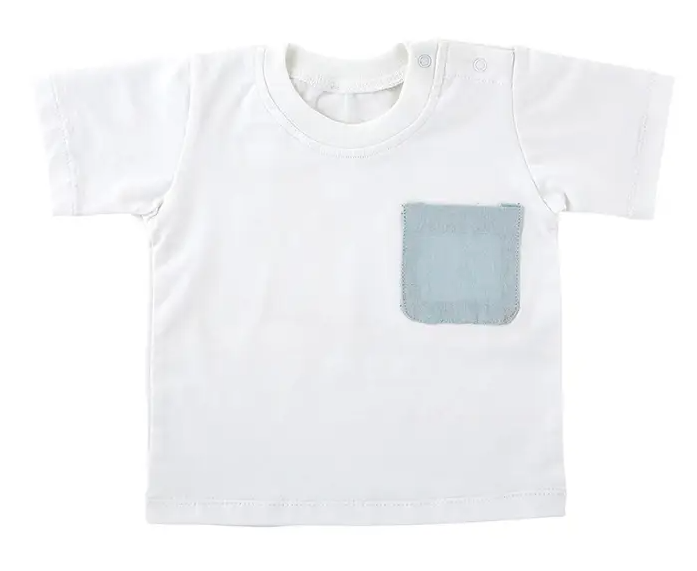 Heirloom T-shirt - White With Blue Pocket