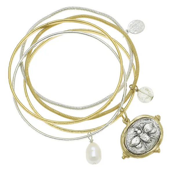 Bee Gold and Silver Bangle Set