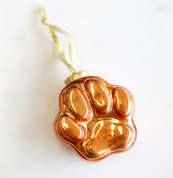 Tiger Paw Glass Ornament in Orange