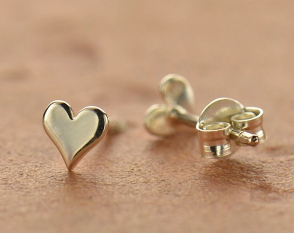Sterling Silver Tiny Heart Stud Earring